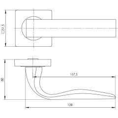 Дверная ручка на розетке Ajax (Аякс) EVO JK GR-23 графит