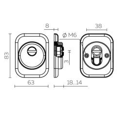Броненакладка DEF 4286 SQ XL квадрат (хром) CP-8