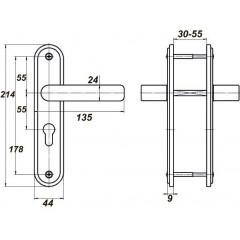 Дверная ручка для ЗВ4 НР0901 (плоская) медный антик