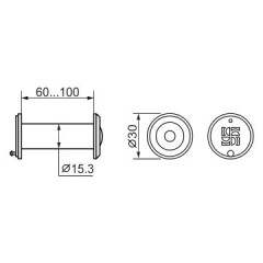 DVZ2, глазок, 16/200/60x100 (оптика пластик, угол обзора 200) CP Хром
