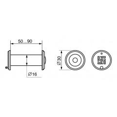 DVZ3, глазок, 16/200/50x90 (оптика пластик, угол обзора 200) CP Хром