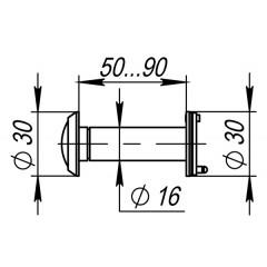 DVZ3, глазок, 16/200/50x90 (оптика пластик, угол обзора 200) AB Бронза