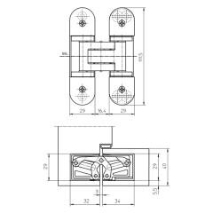 Петля скрытой установки универсальная TECTUS TE 303 3D F1-farbig (матовый хром), 60 кг