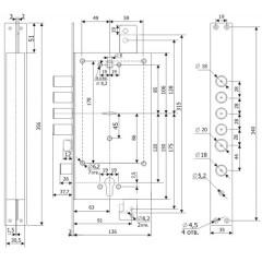 Замок врезной двухсистемный ЗВ 25.12 Т с тягами, 5 кл. (длинный кл. 54 мм) /123:211/