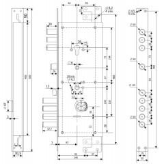 Замок врезной двухсистемный ЗВ 25.14 Т (прав) с тягами (без накл), 5+1 кл (длин. кл. 54мм) /123:454/