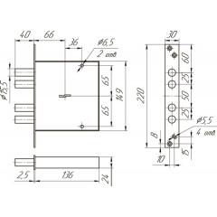 Замок врезной ЗВ8 160.0.0 /(ЗВСП-06 L-16) ключ 60 мм (снят  спроизводства)