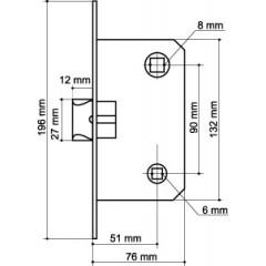 LH 19-50 SG BOX Защелка межкомнатная с планкой (матовое золото)