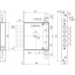 Замок врезной сувальдный ЗВ8 140.1.0 с тягами, 5 кл. (ключ 80 мм)