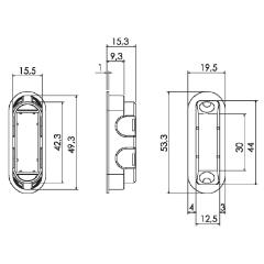 Защелка магнитная сантехническая Morelli M1895 SN, цвет - матовый никель