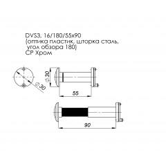 DVS3, глазок, 16/180/55x90 (оптика пластик, шторка сталь, угол обзора 180) CP Хром