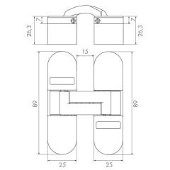 Дверная петля скрытой установки без регулировки UNIVERSAL WA SC матовый хром