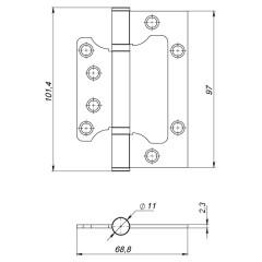 Петля универсальная без врезки 100/P-2B 100x2,3 SN (мат.никель)