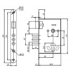 Корпус врезного замка с ручками на планке KIT А7-5555/3 W/B MOS