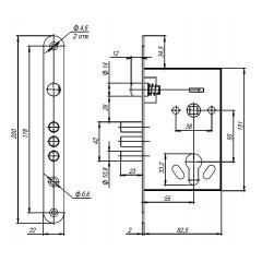 Корпус врезного замка с ручками на планке  KIT А5-3155/3 W/B