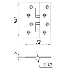 Петля универсальная 4B/P 100x70x2 SN (мат. никель) ПАКЕТ