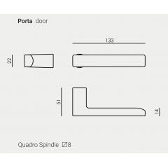 Дверная ручка без розетки NUDA BAAR матовый хром
