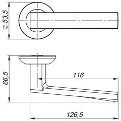 Дверная ручка на розетке Ajax (Аякс) ERGO JR SN/CP-3 матовый никель/хром