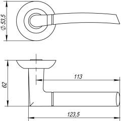 Дверная ручка на розетке Punto (Пунто) ARDEA TL SN/CP-3 матовый никель/хром