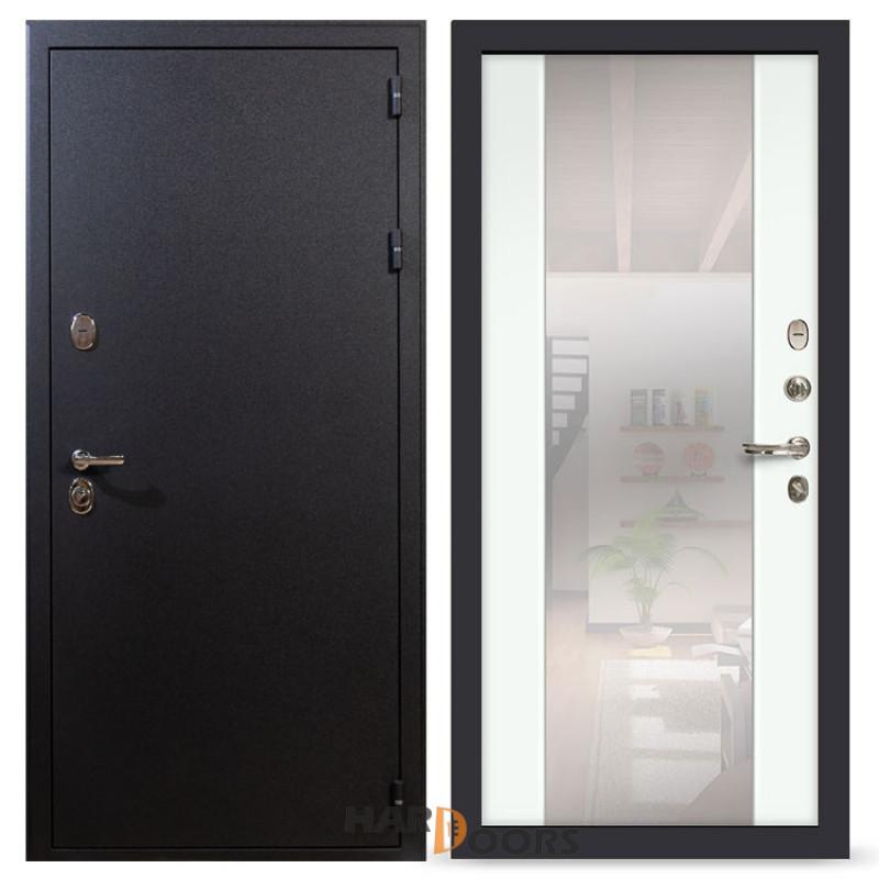 Входные двери Лекс 2 Рим с зеркалом Ясень белый (панель №61)