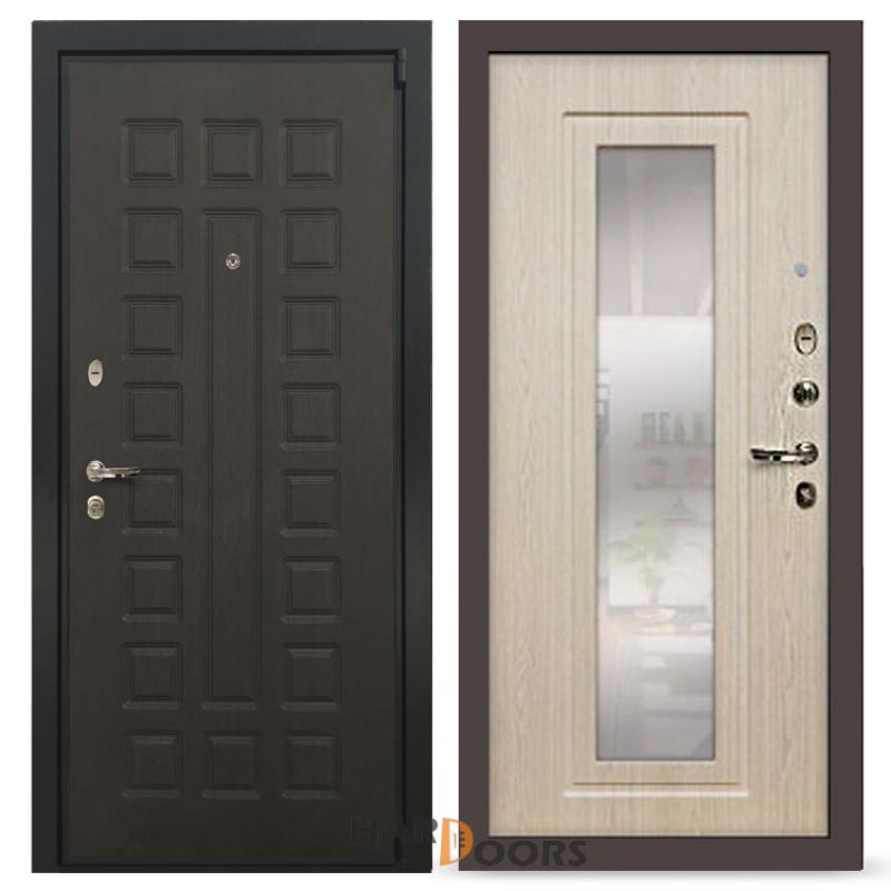 Входные двери Лекс 4А Неаполь Mottura с зеркалом Дуб беленый (панель №23)