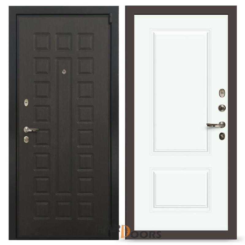 Входные двери Лекс 4А Неаполь Mottura Вероника-1 Шпон Эмаль Белая (панель №55)