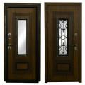 Входные двери Лекс Термо Русь с окном и ковкой (Голден патина)