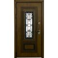 Входные двери  ЛЕКС  Лекс Термо Русь с окном и ковкой (Голден патина) Фото 4